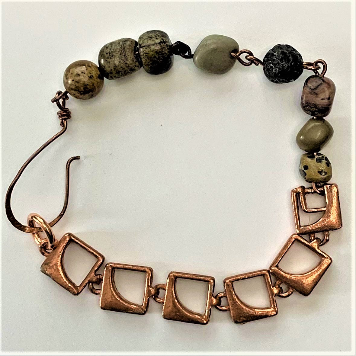 Vintage Chain with Multi-Gemstone Copper Bracelet