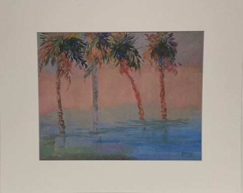 """Palms at High Tide"" Matted Oil Print by Patricia Geary"