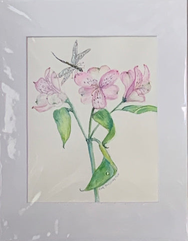 """Dragonfly on Pinks"" Original Watercolor by Ting Blessington"