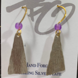 Silver on Copper Dangles with Amethyst Beads