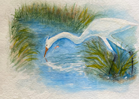 """Great White Egret Fishing Creek"" Original Watercolor by Ting Blessington"