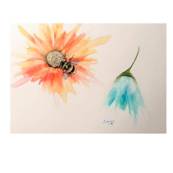 """Bee on Flower"" Watercolor Print on Yupo by Christine Dody Bishop"