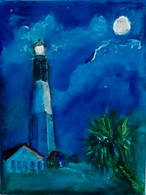 """Lighthouse with Palm"" Original Acrylic by Ting Blessington"