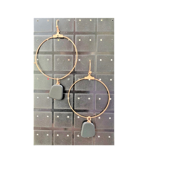 Copper Hoops with Black Sea Glass Earrings