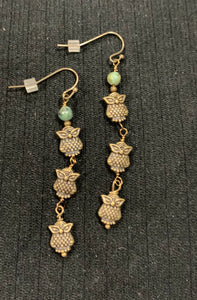 Turquoise Drop Earrings with Brass Owls