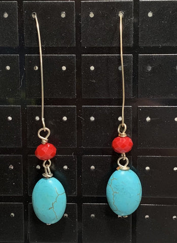 Magnesite and Coral Earrings Sarah Bernzott