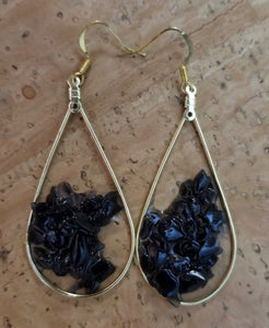 GF onyx Chip and Gold Teardrop Earrings by Sarah Bernzott
