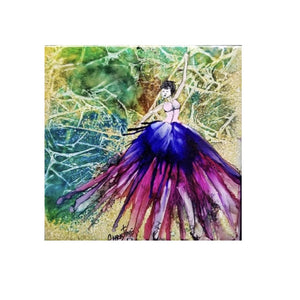 """Dancer""  Original Alcohol Ink on Tile by Christine Bishop"