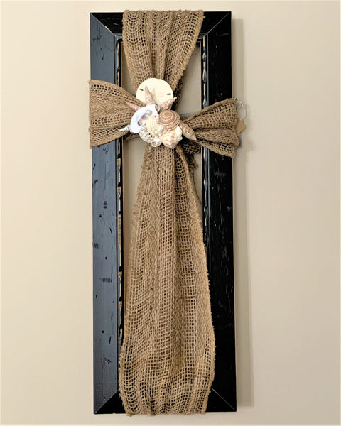 Burlap Cross on 19x7 Wooden Frame