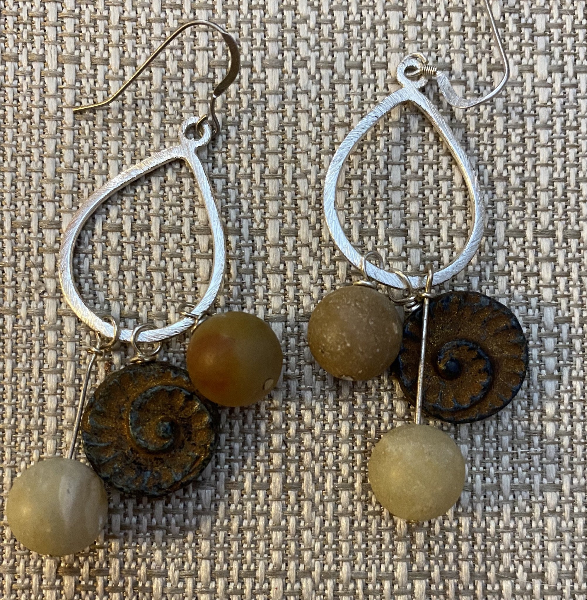 Silver Amazonite & Czech Glass Ammonite Earrings by Sarah Bernzott
