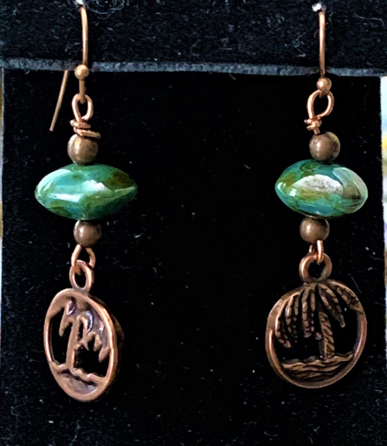 Czech Glass and Copper Palm Tree Earrings