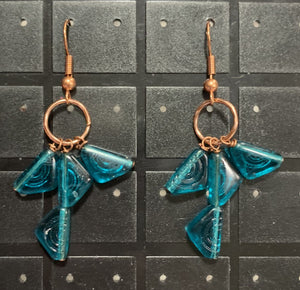 Cerulean Czech Glass and Copper Dangle by Sarah Bernzott