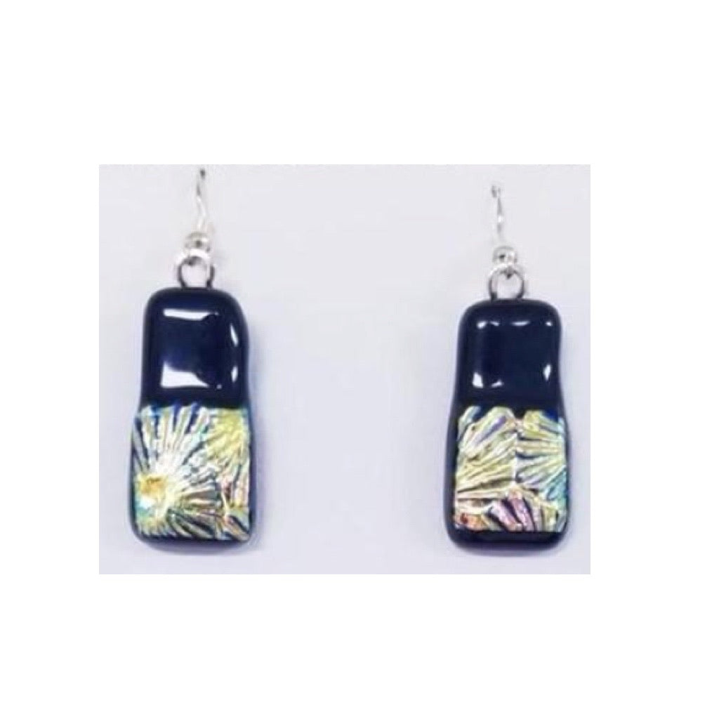 Black and Dichroic Earrings