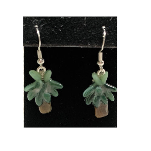 Palm Tree Hand-cut Fused Glass Earrings by Twisted Sisters