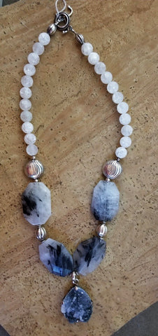 Crackle Quartz & Druzy Beaded Necklace