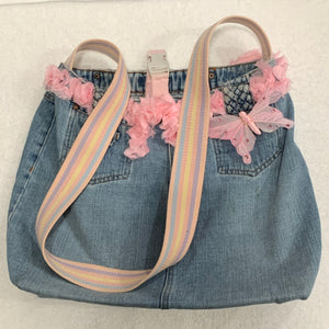 """Pink Butterfly"" Blue Jeans Artisan Bag by Linda Cleary"