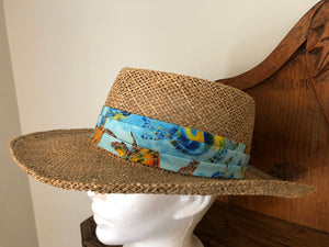 Upcycled Men's Straw Hat with Beachy Batik  by Gena Fausel