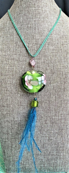Lamp Work Glass Pendant with Feather Accents Necklace