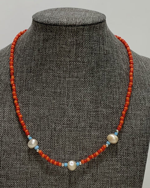 Red Beads and Pearls Necklace