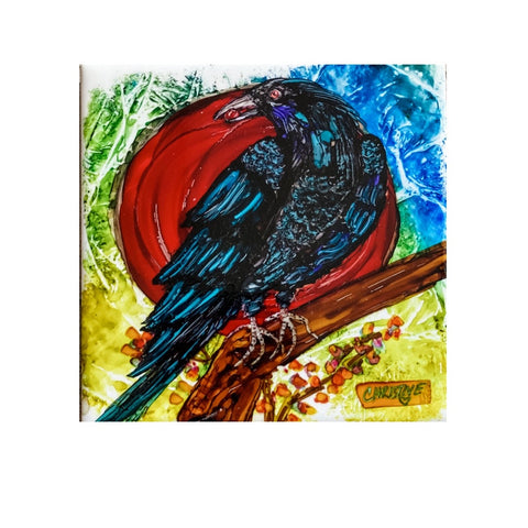 """Crow"" Original Alcohol Ink on Tile by Christine Bishop"