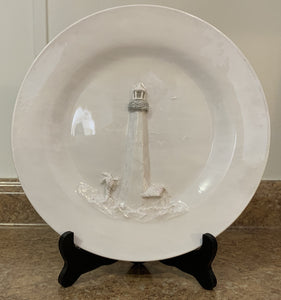 Tybee Lighthouse Sculptured Dinner Plate by Rebecca Rice