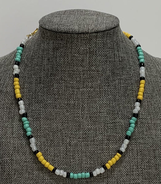 Yellow Teal White and Black Beaded Summer Necklace