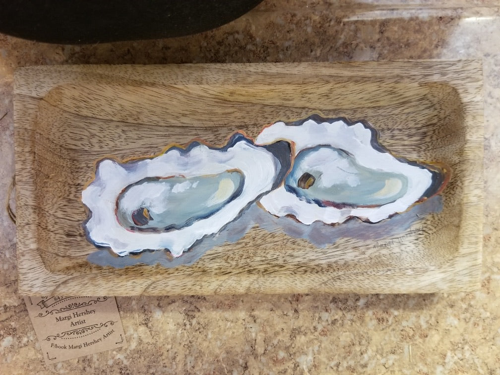 Oysters on Bread Board