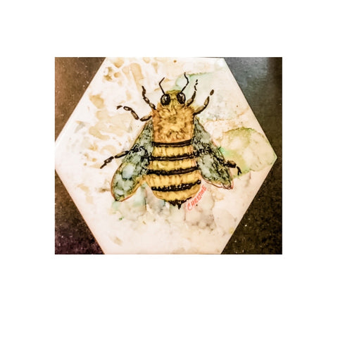 """Big Bee""  Original Alcohol Ink on Tile by Christine Bishop"