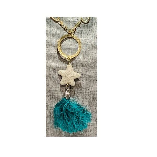 Lava Starfish Pendant Necklace with Teal Tassle