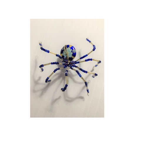 Blue Beaded Jointed Spider