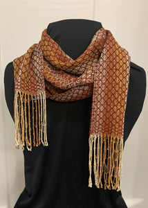 Rustic Ovals Handwoven Dressy Tensel and Glass Beaded Scarf