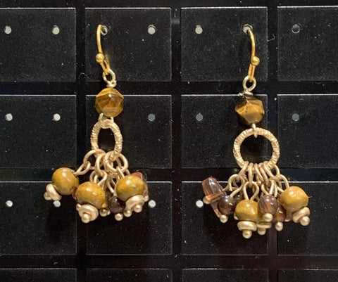 Vintage Golden with Wood Earrings Sarah Bernzott