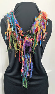 Multi-Color Novelty Yarn Mix Hand Knitted Scarf