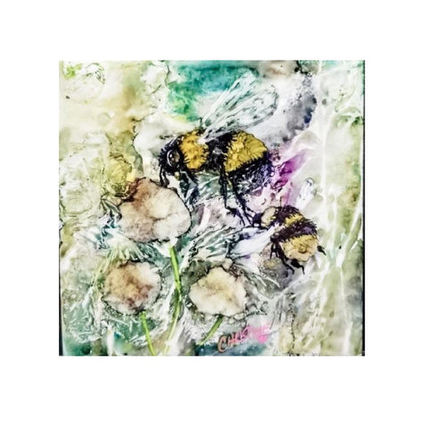 """Bee on Dandelion"" Original Alcohol Ink on Tile by Christine Bishop"