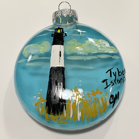 """Tybee Island Lighthouse"" Christmas Ornament by Cheryl Martin"