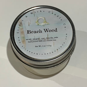 Beach Wood Shell Candles