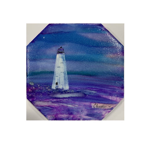 """Cockspur Lighthouse I"" Original Alcohol Ink on Tile by Christine Bishop"