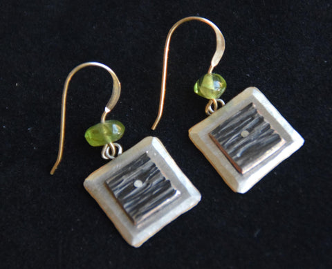 14mm Square Sterling Silver Plate on Copper Dangles by Brian Gilbert