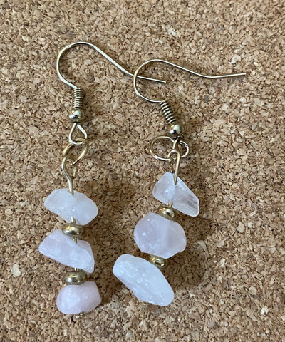 Rose Quartz Dangle Earrings by Corrine Dowd