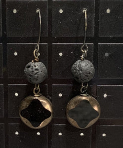 Black Czech and Lava Earrings Sarah Bernzott