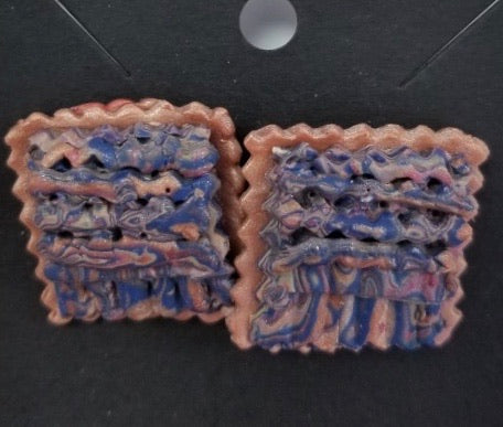 Copper & Blue Makume Gane Polymer Clay Earrings by Cheryl Martin