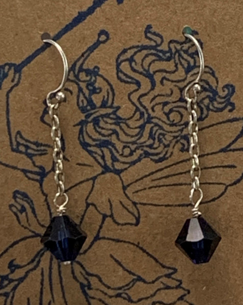 Sterling Silver Blue Swarovski Crystal Earrings by Marianne Bramble