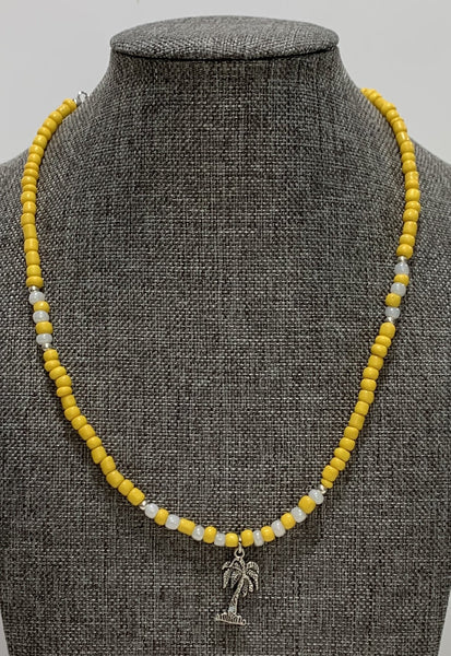 Yellow and White Beads Necklace with Palm Tree Charm