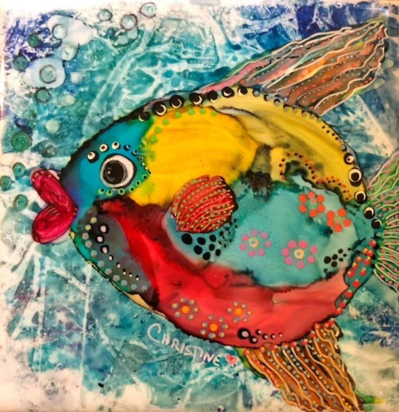 """Fat-Lipped Fish II""  Original Alcohol Ink on Tile by Christine Bishop"