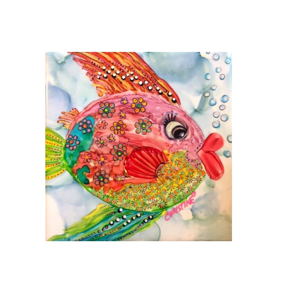 """Fat-Lipped Fish""  Original Alcohol Ink on Tile by Christine Bishop"