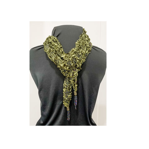 Olive Green Novelty Yarn Hand Knitted Scarf