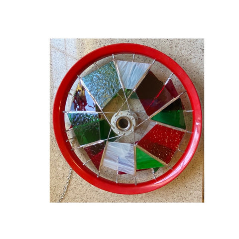 """Stained Glass Red Wheel"" Window Art"