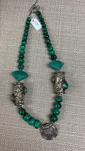 Antique Silver Malachite Necklace by Jules Heerlein