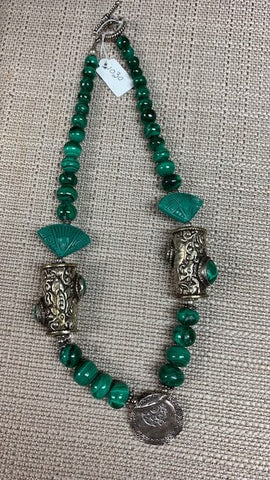 Antique Silver Malachite Necklace