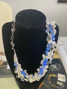 Triple Strand Pearl and Crystal Quartz Necklace